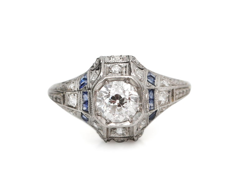 Vintage Platinum Diamond With Sapphire Accents Art Deco Engagement Ring At 1stdibs