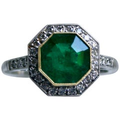 Vintage Platinum Emerald and Diamond Halo Ring Engagement Ring, 3.81 Carat