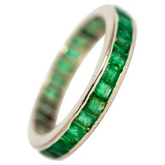 Vintage Platinum Emerald Full Eternity Band