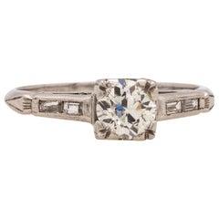 Vintage Platinum Engagement Ring 0.60 Carat I-VS2 OEC, circa 1930s