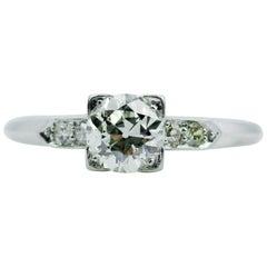 Vintage Platinum European Cut Center with Single Cut Diamonds Ring