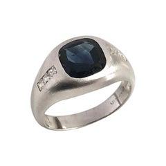 Vintage Platinum French Cut Diamond and Sapphire Art Deco Ring