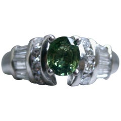 Vintage Platinum Green Sapphire and Diamond Ring Engagement Ring, 1.23 Carat