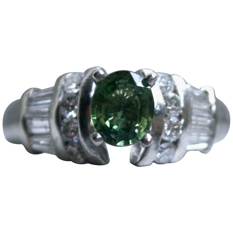 Vintage Platinum Green Sapphire and Diamond Ring Engagement Ring, 1.23 Carat For Sale