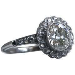 Vintage Platinum Halo Diamond Ring Engagement Ring, 2.47 Carat