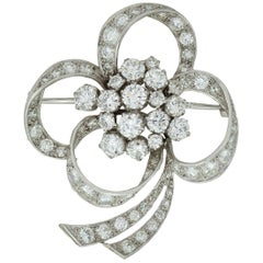 Vintage Platinum Ladies Brooch with Diamonds, of Floral Shape, 1950s
