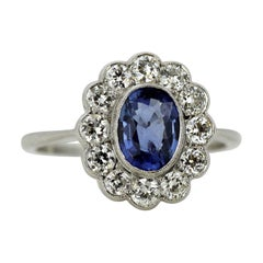 Vintage Platinum Ladies Cluster Ring Natural Ceylon Sapphire and Diamonds