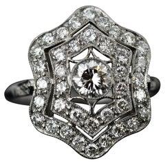 Vintage Platinum Ladies Ring with Diamonds, 1950s