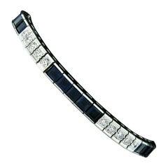 Vintage Platinum Line Tennis Bracelet w/ 8.50ctw GIA Square Sapphires & Diamonds