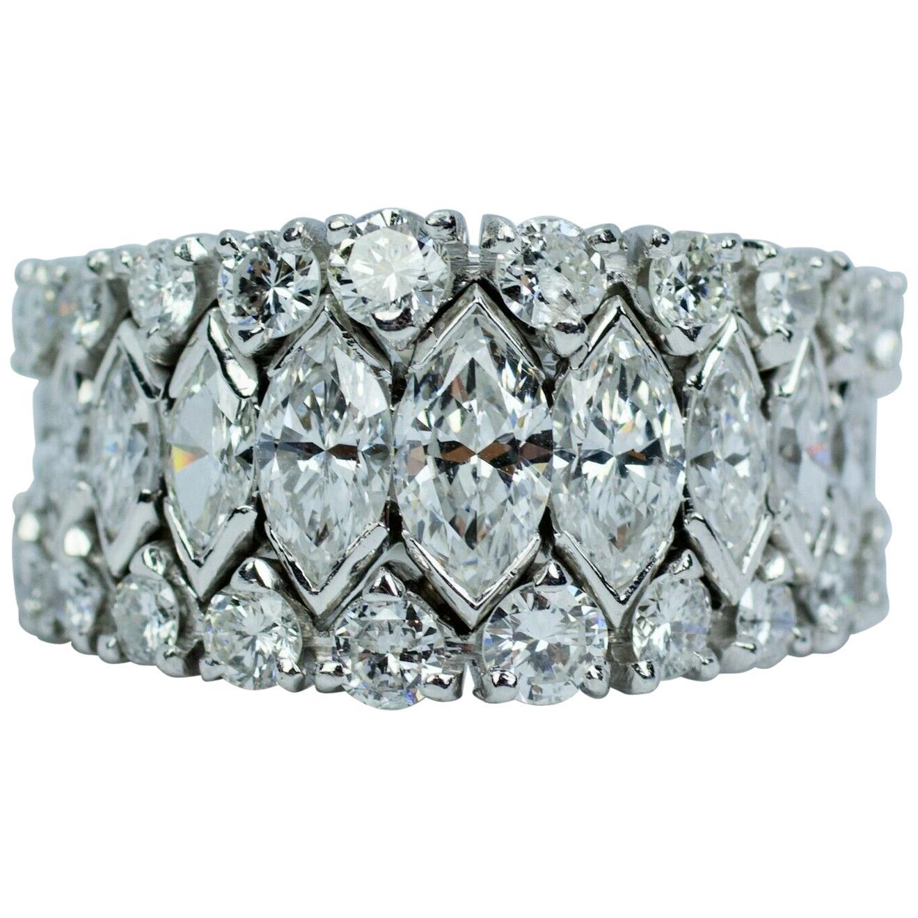 Vintage Platinum Marquise Diamond and Round Diamond Graduated Eternity Band