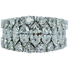 Vintage Platinum Marquise Diamond and Round Diamond Graduated Eternity Band