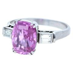 Vintage Platinum No Heat Pink Sapphire and Diamond Ring 2.75 Carat