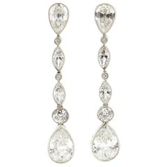 Vintage Platinum Old Cut Diamond Long Ear Pendants