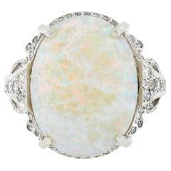 Vintage Platinum Oval Cabochon Opal Solitaire w/ 0.95ctw Diamond Cocktail Ring
