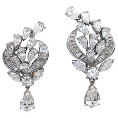 Vintage Platinum Pear and Baguette Diamond Drop Earrings 7.50 Carat