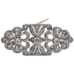 Vintage Platinum Pin Brooch in Rose Gold with Diamonds