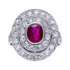 Vintage, Platinum, Rare Natural Burmese Ruby and Diamond Cluster Ring