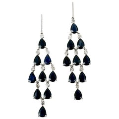 Vintage Platinum Sapphire Diamond Chandelier Drop Earrings