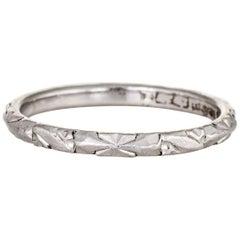 Vintage Platinum Wedding Band Embossed Eternity Ring Estate Jewelry