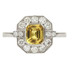 Vintage Platinum Yellow Sapphire and Diamond Cluster Ring, circa 1950