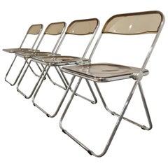 Vintage Plia Folding Chairs by Castelli, 1970s, Set of 4