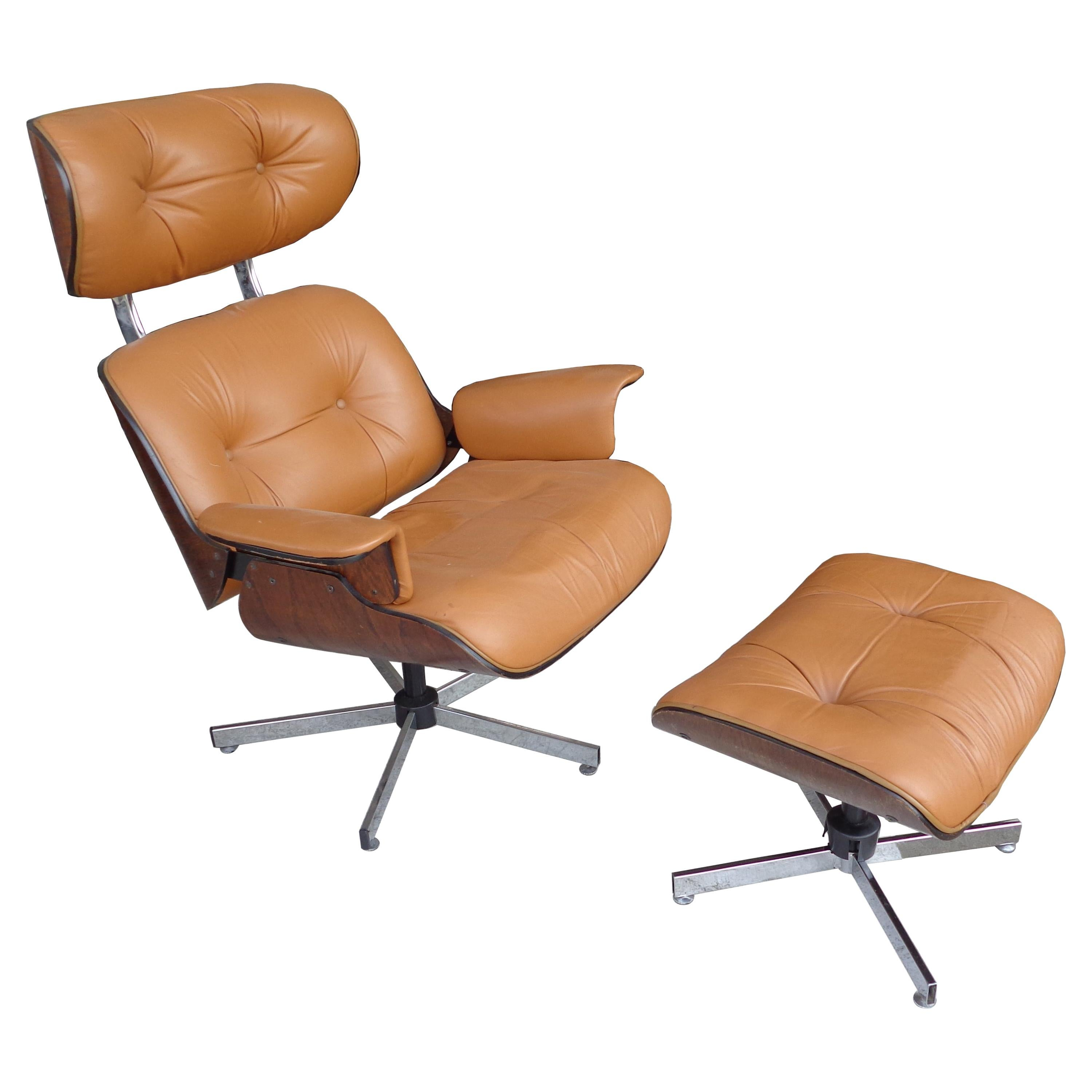 Vintage Plycraft Lounge Chair and Ottoman