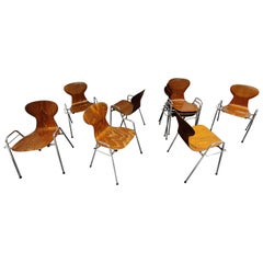 Vintage Plywood Chairs by Tubax, Belgium, Set of 8, 1980s