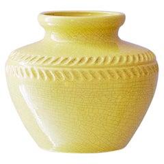 Vintage Pol Chambrost Ceramic Vase in Yellow Craquelé Gaze, France, 1960s