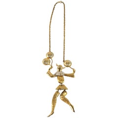 Vintage Polcini Articulated Harlequin Dancer Necklace- circa 1960-Hallmark