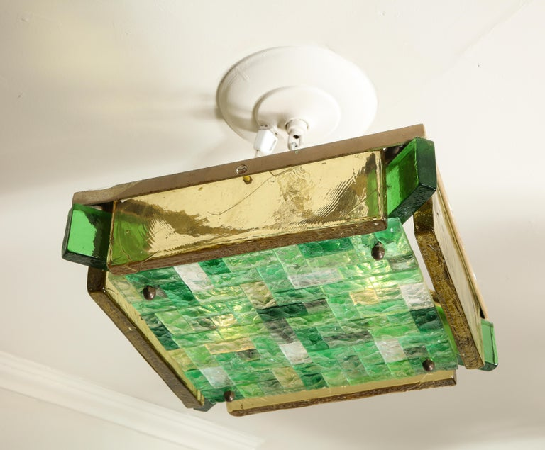 One-of-a-kind 1970s Italian Flushmount ceiling light by Poliarte is available for immediate purchase. Two Sockets. Thick chiseled polychrome glass.