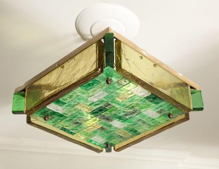Mid-Century Modern Vintage Poliarte Verona Square Flush-Mount Ceiling Light For Sale