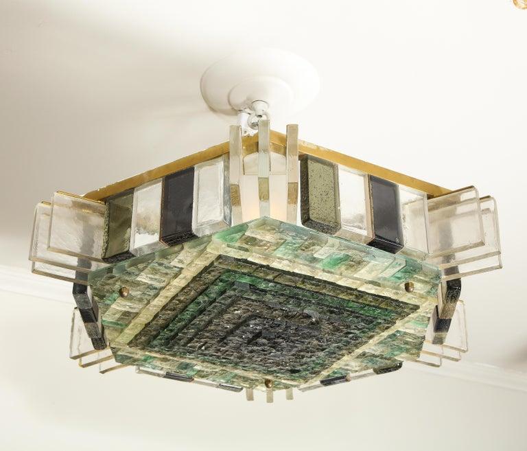 Mid-Century Modern Vintage Poliarte Verona Hexagon Flush-Mount Ceiling Light For Sale