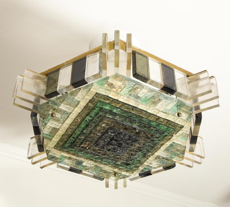 Italian Vintage Poliarte Verona Hexagon Flush-Mount Ceiling Light For Sale