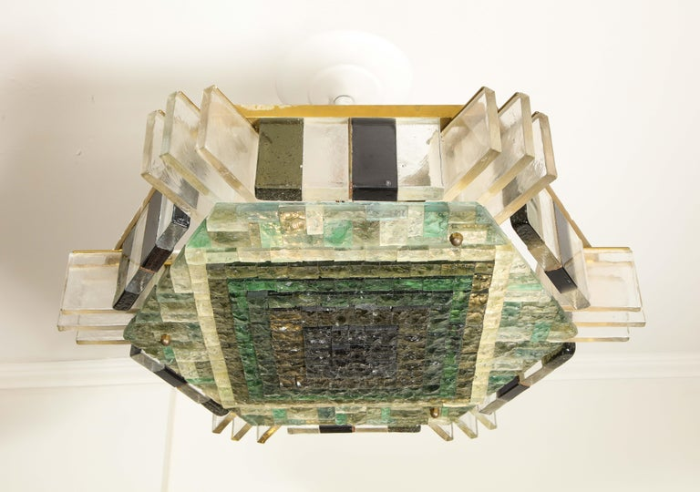Vintage Poliarte Verona Hexagon Flush-Mount Ceiling Light In Good Condition For Sale In New York, NY