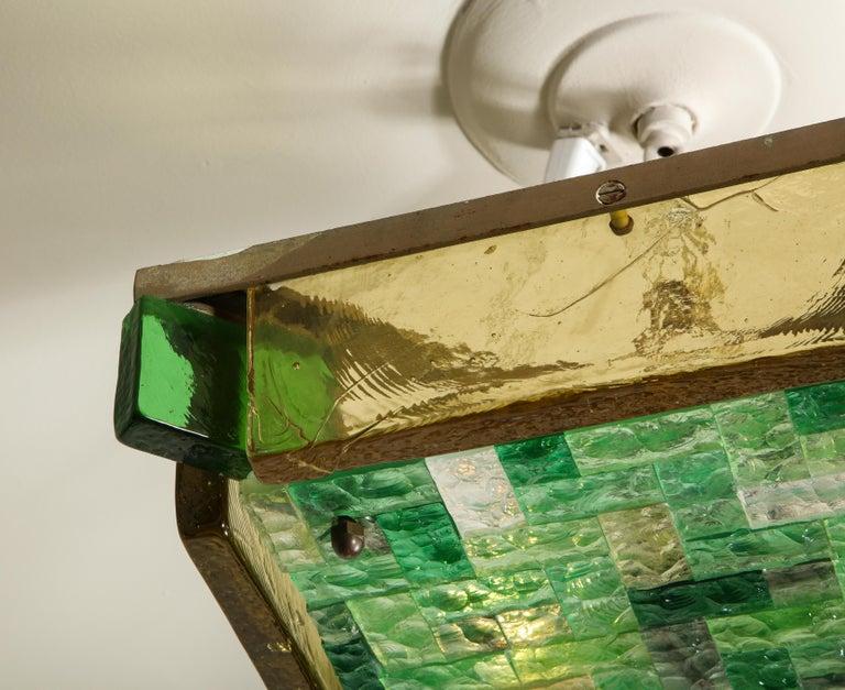 Murano Glass Vintage Poliarte Verona Square Flush-Mount Ceiling Light For Sale