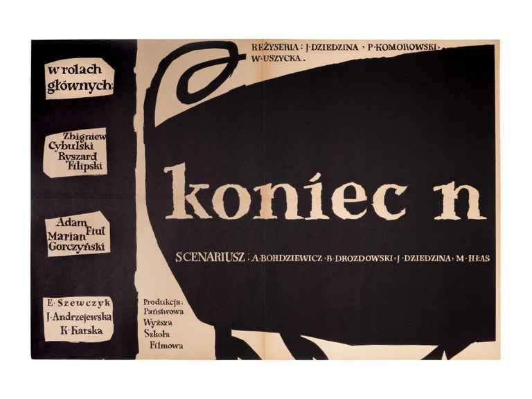 This original Polish Koniec Nocy movie poster was designed by Jan Mlodozeniec in 1956. 2 panel poster, 2 x horizontal A1 size.  Jan Mlodozeniec (1929-2000) was a Polish graphic designer. He worked in posters, drawing, book and publication design,