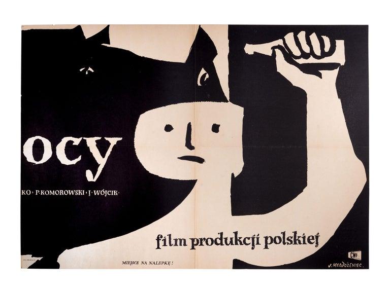 Mid-Century Modern Vintage Polish Koniec Nocy Movie Poster by Jan Młodożeniec for CWF, 1956 For Sale