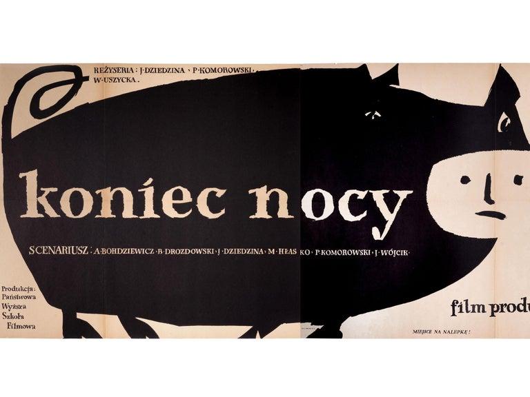Vintage Polish Koniec Nocy Movie Poster by Jan Młodożeniec for CWF, 1956 In Good Condition For Sale In Tarnowskie Gory, Sląskie