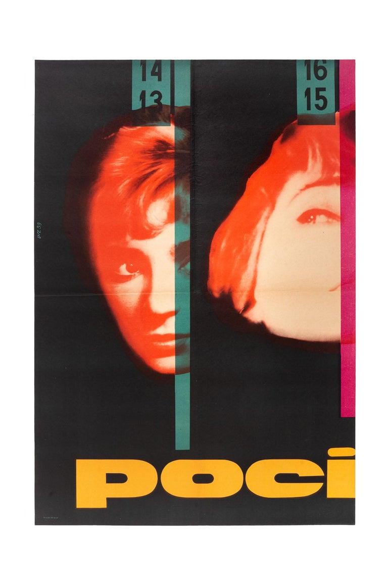 This original Polish Pociag movie poster was designed by Wojciech Zamecznik in 1959. 2-panel poster, 2 x A1 size.  Wojciech Zamecznik (1923-1967), graphic and poster artist, photographer, exhibition designer.  Zamecznik was among the most