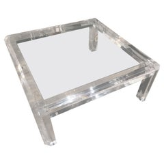 Vintage Polished Beveled Lucite Coffee Cocktail Table New Inset Glass Top