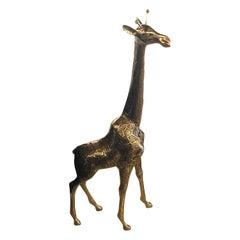 Vintage Messing Polierte Giraffe Große Statue