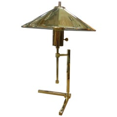 Vintage Polished Brass Lamp with Brass Shade