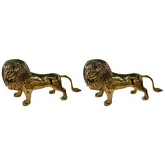 Vintage Polished Brass Lion Statue, Pair Available