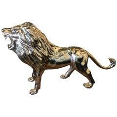 Vintage Polished Brass Monumental Size Lion Animal Figure Statue