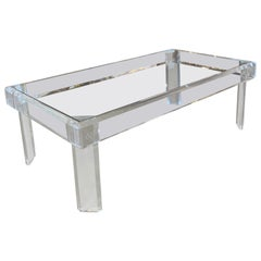 Vintage Polished Lucite Coffee Cocktail Table, New Glass Top