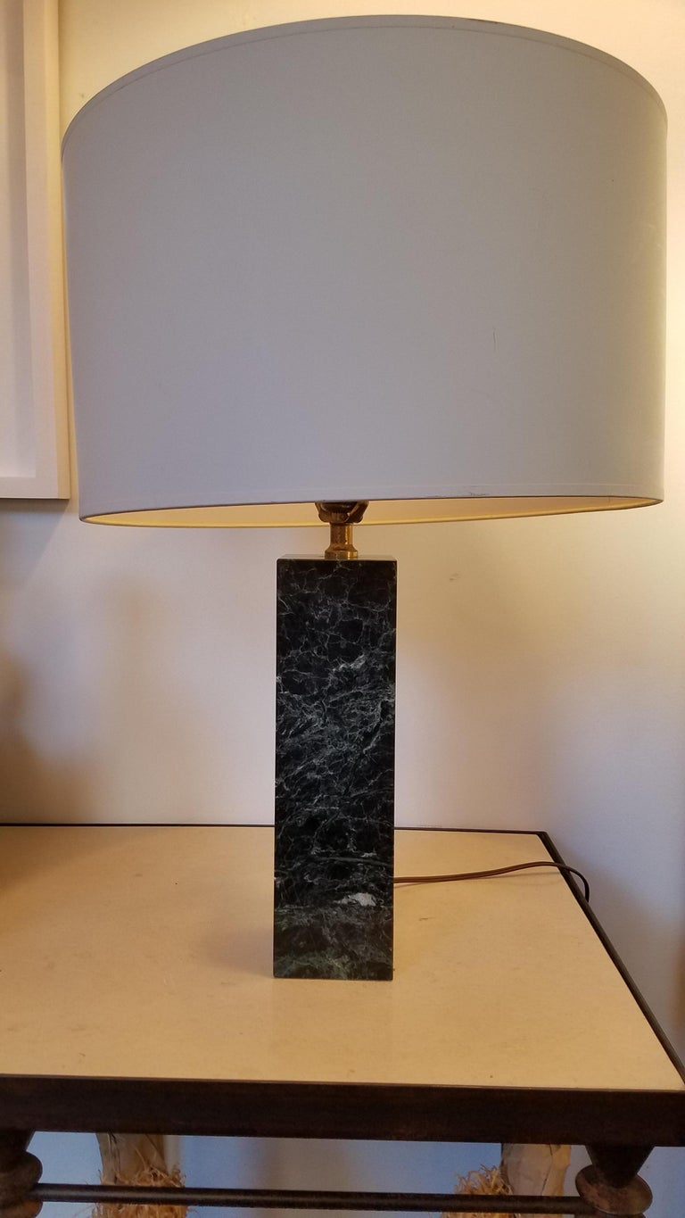 Vintage Polished Marble Lamp In Good Condition For Sale In Sag Harbor, NY