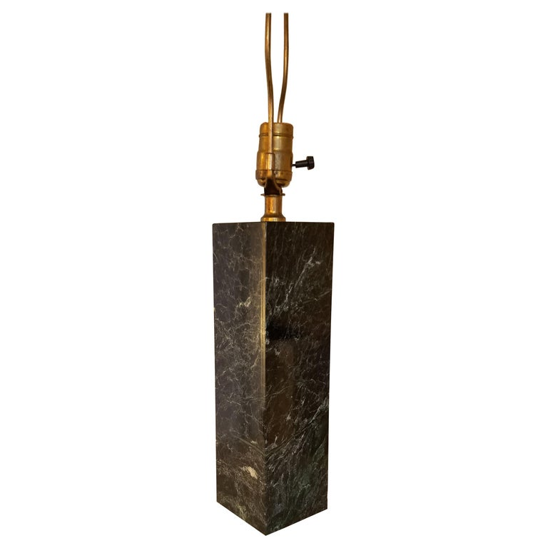 Vintage Polished Marble Lamp For Sale