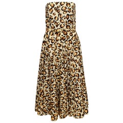 Vintage Polly Peck Animal Print Dress and Matching Scarf