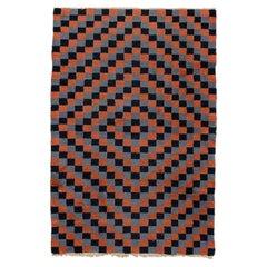 Vintage Polychrome Tibetan Meditation Checkerboard Rug