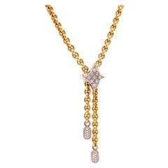 Vintage Pomellato Diamond 18 Karat Gold Sliding Chain Necklace